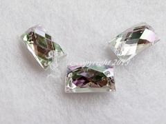 Strasssteine Aufnähsteine Rechteck ca. 14 x 9 mm AB-Crystal