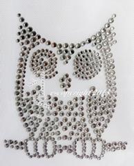 Strass Bügelbilder kleine Strass Eule Kauz Vogel Black Diamond -Crystal 130609