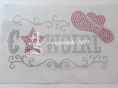 Hotfix Bügelbild Cowgirl Rosa Silver Metallstuds 140305
