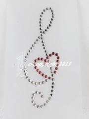 Hotfix Bügelbilder Strass Notenschlüssel mit rotem Herz 130517