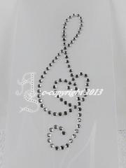 Hotfix Bügelbilder Strass Notenschlüssel mit  Herz 130517 Crysta