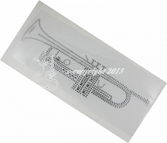 Hotfix  Bügelbild Trompete Strass Instrument Crystal  130114