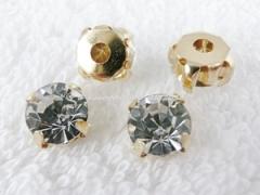 Glas Aufnähsteine goldfarben gefasst Strasssteine ca. 8 mm Crystal