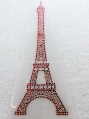 Hotfix Bügelbild Strass Eifelturm Rot Frankreich France Paris 131224