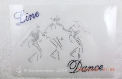 Bügelbild Strass LINE DANCE Western Country Crystal / Cobalt  140322