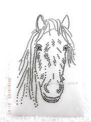 Bügelbild Strass Pferd Pferdekopf Black Dia. u. Schwarz. 140322