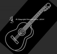 Hotfix Bügelbild Strass akustische Gitarre Klampfe 140522 Crystal