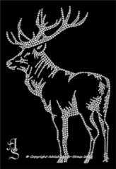 Hotfix Bügelbild toller natürlicher Hirsch links Strass Tracht Jagd Janker crystal 140102