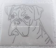 Hotfix Strass Glas Bügelbild Hund Dog Boxer Kopf Hundezucht 140421