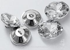 Glas Aufnähsteine Knopf mit Öse Strassteine ca.25mm Crystal