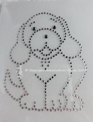 Hotfix Strass Bügelbild Kleiner Hund Strass Crystal  131115