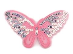 Applikation Hotfix Patch zarter Schmetterling Flieder mit Pailetten