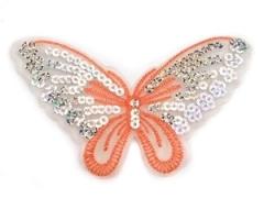 Applikation Hotfix Patch zarter Schmetterling Rosa mit Pailetten