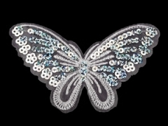 Applikation Hotfix Patch zarter Schmetterling Weiß mit Pailetten