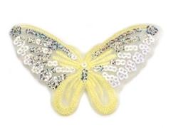 Applikation Hotfix Patch zarter Schmetterling zart Gelb mit Pailetten