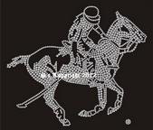 Hotfix Bügelbild Strass Pferd  Polospieler 120824-11sa