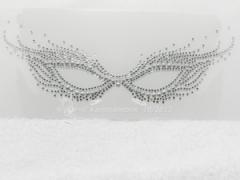 Strass Bügelbild Maske Fasching Karneval Venedig Crystal-Silber 130819