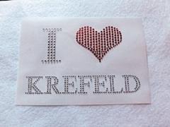 Hotfix Bügelbild Strass Schriftzug  I Love Krefeld  091112