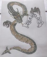Strass Bügelbild  Drachen Metallstuds mit Crystal 190223