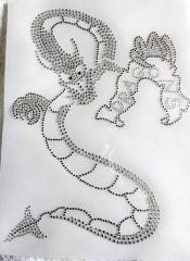 Hotfix Strass Bügelbild Dragon Strass Drachen Crystal 190223