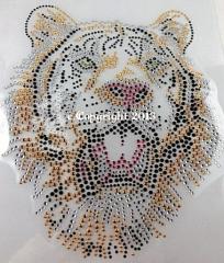 Hotfix Strass Bügelbild Toller Tiger Tigerkopf  2 Gold 130422