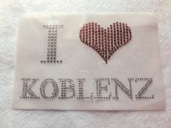Bügelbild Strass Schriftzug  I Love Koblenz 110912