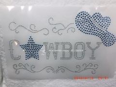Bügelmotiv Applikation CountryCowboy Blau Silver Metallstuds 140305