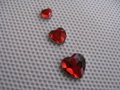 Acryl Strasssteine Herz Rot 4x4 mm